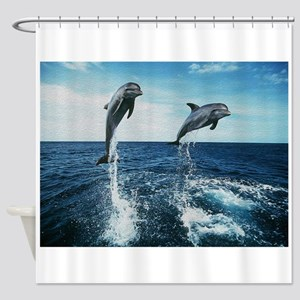 Twin Dolphins Shower Curtain