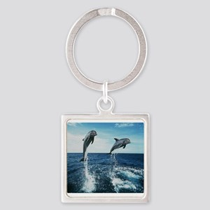Twin Dolphins Square Keychain