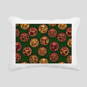 Christmas Balls - Red Rectangular Canvas Pillow