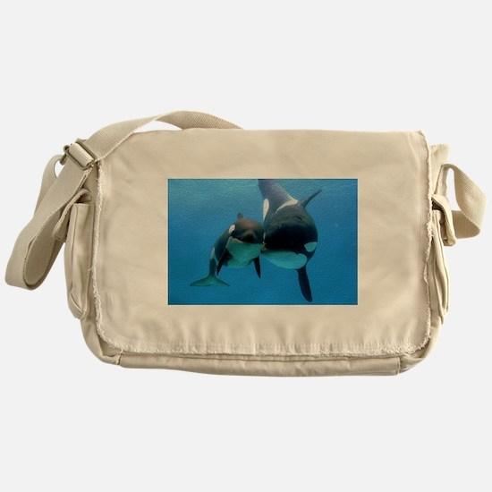 Orca Whale and Calf Messenger Bag