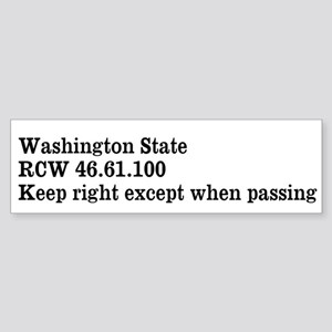 Washington State Keep Right Bumper Sticker