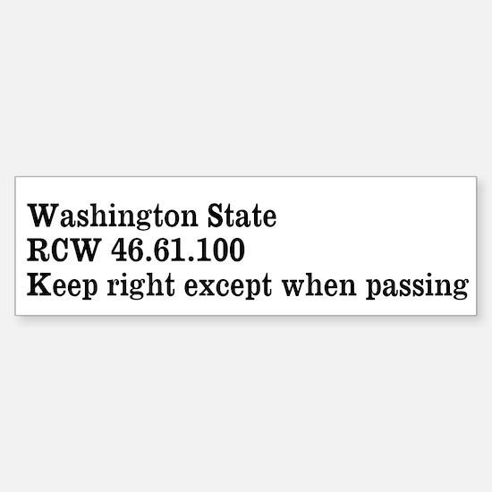 Washington State Keep Right Bumper Bumper Bumper Sticker