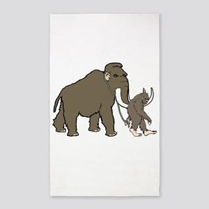 Woolly Mammoth And Bigfoot 3'x5' Area Rug