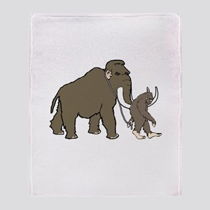 Woolly Mammoth And Bigfoot Throw Blanket