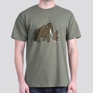 Woolly Mammoth And Bigfoot Dark T-Shirt