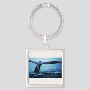 Whale Fluke Square Keychain