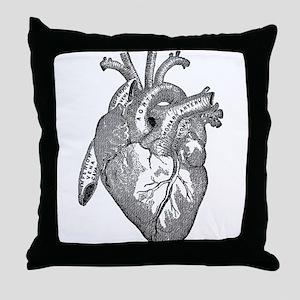 Anatomical Heart - Black Throw Pillow