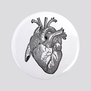 "Anatomical Heart - Black 3.5"" Button"