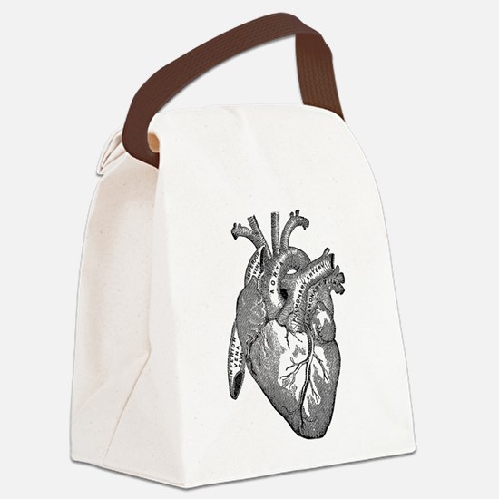 Anatomical Heart - Black Canvas Lunch Bag