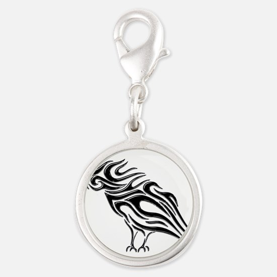 Glossy Black Raven Tattoo Charms