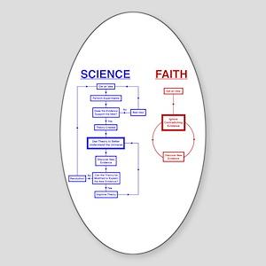 Science vs Faith Oval Sticker