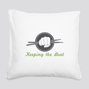 Fist With Drum Stick Square Canvas Pillow