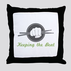 Fist With Drum Stick Throw Pillow