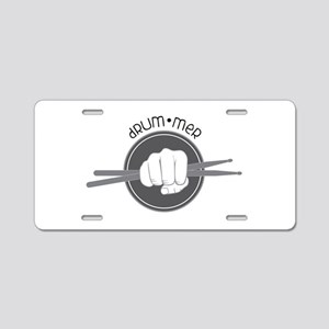 Fist With Drum Stick Aluminum License Plate