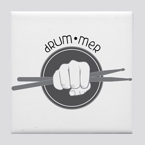 Fist With Drum Stick Tile Coaster
