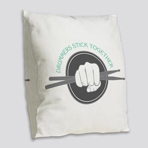 Fist With Drum Stick Burlap Throw Pillow