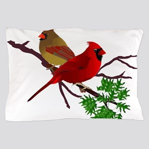 Cardinal Couple on a Branch Pillow Case
