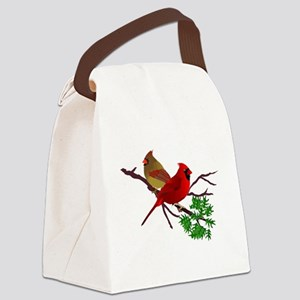 Cardinal Couple on a Branch Canvas Lunch Bag