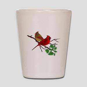 Cardinal Couple on a Branch Shot Glass