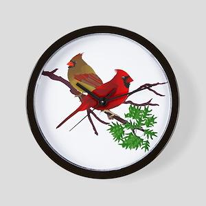 Cardinal Couple on a Branch Wall Clock