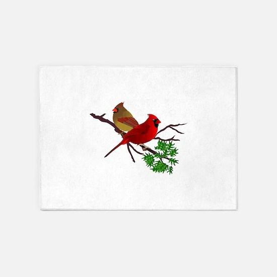 Cardinal Couple on a Branch 5'x7'Area Rug