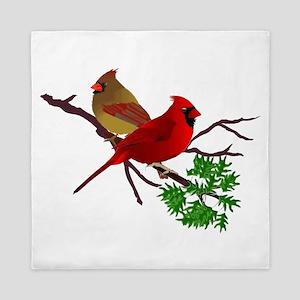 Cardinal Couple on a Branch Queen Duvet