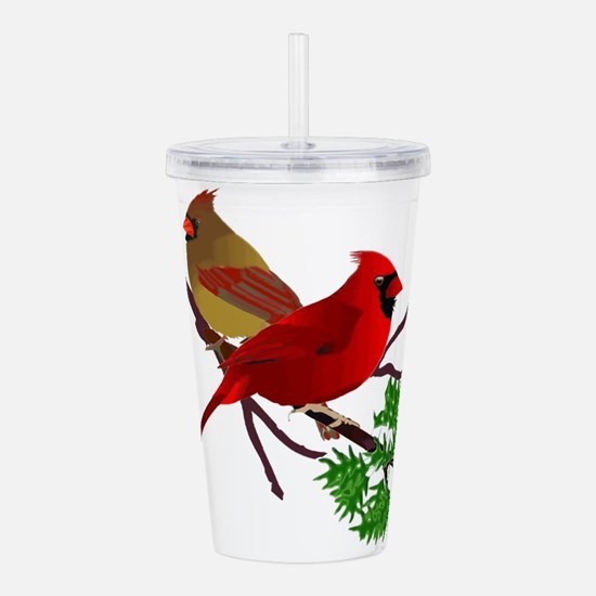 Cardinal Couple on a B Acrylic Double-wall Tumbler