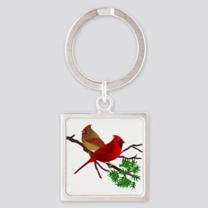 Cardinal Couple on a Branch Keychains