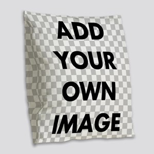 Custom Add Image Burlap Throw Pillow