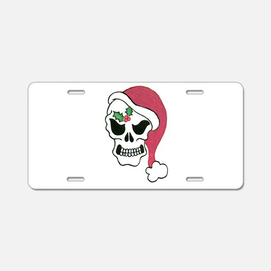 Santa Skull Aluminum License Plate