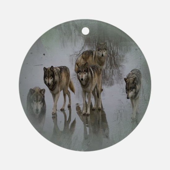 Grunge Wolf Pack Ornament (Round)