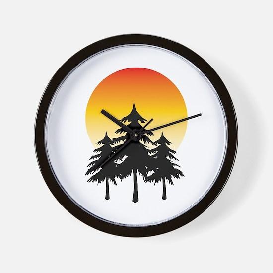 Moon Trees Wall Clock