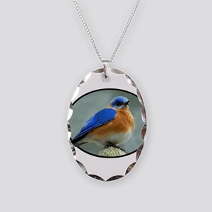 Bluebird in Oval Frame Necklace Oval Charm