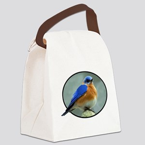 Bluebird in Oval Frame Canvas Lunch Bag