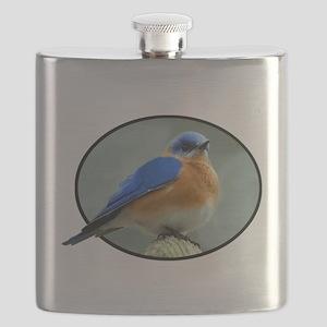 Bluebird in Oval Frame Flask