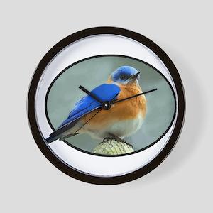 Bluebird in Oval Frame Wall Clock