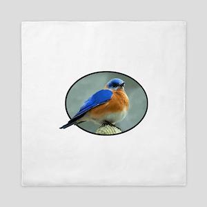 Bluebird in Oval Frame Queen Duvet