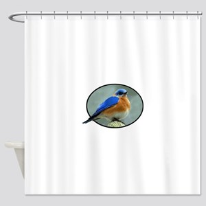 Bluebird in Oval Frame Shower Curtain