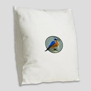 Bluebird in Oval Frame Burlap Throw Pillow