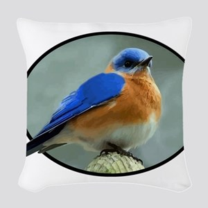 Bluebird in Oval Frame Woven Throw Pillow