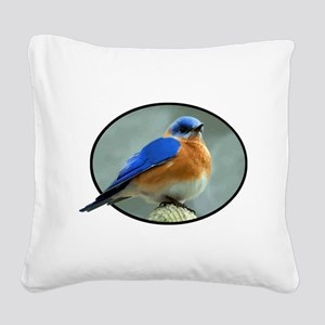 Bluebird in Oval Frame Square Canvas Pillow