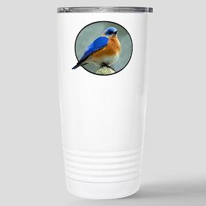 Bluebird in Oval Frame Stainless Steel Travel Mug
