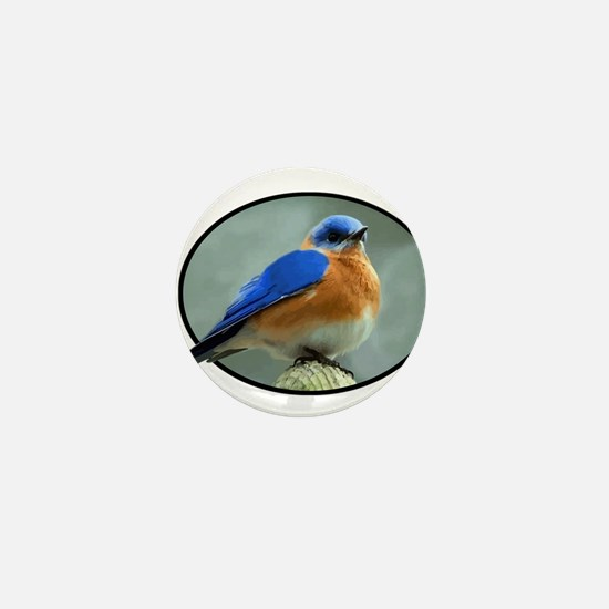 Bluebird in Oval Frame Mini Button