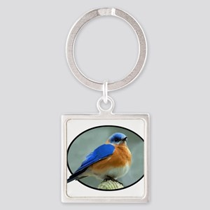 Bluebird in Oval Frame Keychains