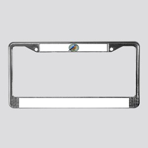 Bluebird in Oval Frame License Plate Frame