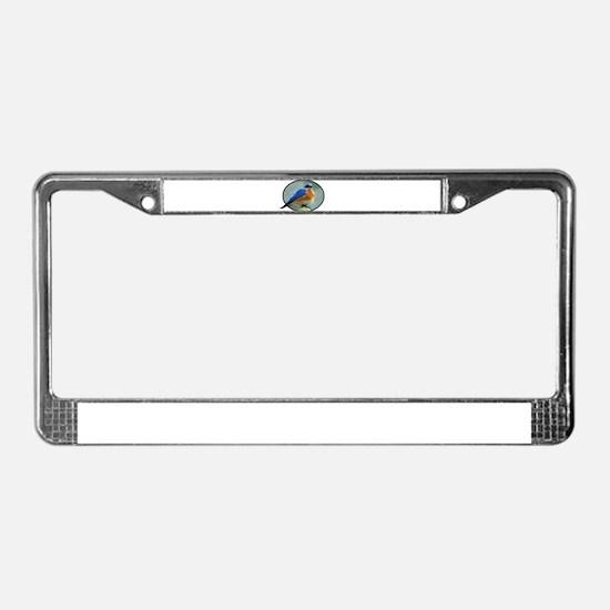 Bluebird in Oval Frame License Plate Frame