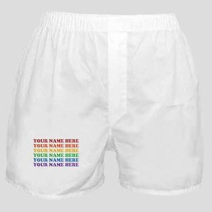 Rainbow Custom Text Boxer Shorts