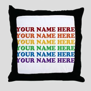 Rainbow Custom Text Throw Pillow