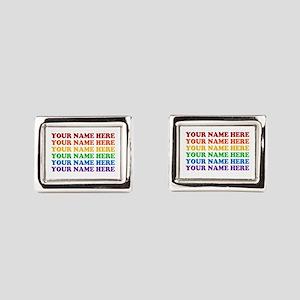 Rainbow Custom Text Rectangular Cufflinks