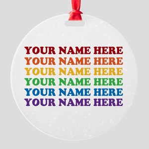 Rainbow Custom Text Round Ornament